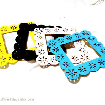 set of 4 open back wood frames aqua yellow black white 4x4 COLORFUL PAINTED FRAMES laser cut ornate decorative wood frames