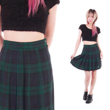 90s Express Vintage Blue Green Tartan Plaid High Waist Pleated Mini Skirt Preppy Goth Schoolgirl Clothing Womens Size XS