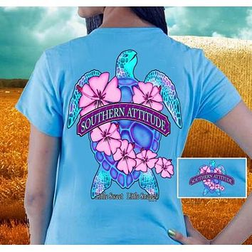 Country Life Outfitters Southern Attitude Snappy Sea Turtle Flower Carolina Blue Vintage Girlie Bright T Shirt