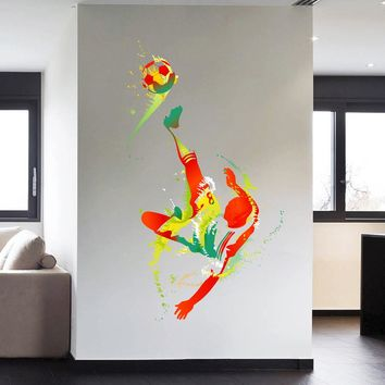 cik113 Full Color Wall decal soccer football ball sport spray paint room Bedroom sports hall
