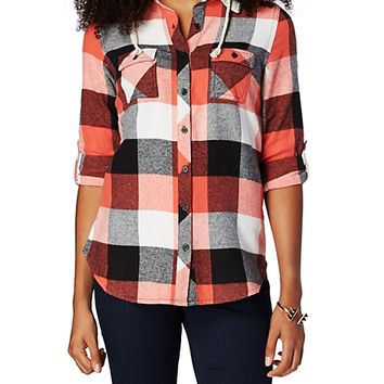 Hooded Plaid Flannel Button Down