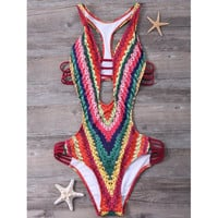 Printed Padded High Cut Monokini One Piece Swimsuit
