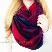 On Sale Blanket Infinity Scarf Winter Chunky Scarf Plaid Scarf Large Scarf Cute Scarf Fashion Accessory Holiday Gift