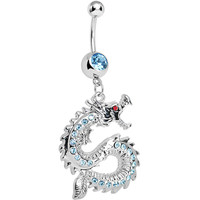 Aqua Gem Chinese Dragon Charm Dangle Belly Ring | Body Candy Body Jewelry