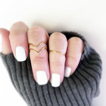 Above Knuckle Ring Set of 3 Gold Tone Handmade Stacking Adjustable Above the Knuckle Rings, Band and Chevron Dainty Petite Midi