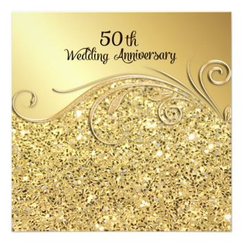 Sparkle Golden 50th Wedding Anniversary Invitation