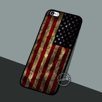 Grunge American Flag - iPhone 7 6 5 SE Cases & Covers #art