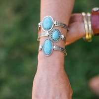 Western Turquoise Etched Bracelet