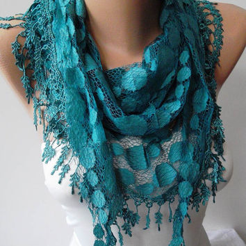 Turqouise Blue and Laced Fabric Scarf  -- with the Same Color Trim Edge