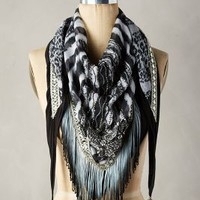 Majorca Fringed Scarf by Mary Frances Black & White All Scarves
