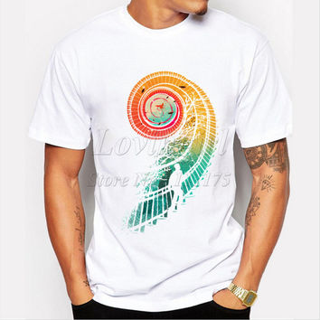 Latest 2017 men's fashion creative stairs design t-shirt funny tee shirts Hipster O-neck popular tops