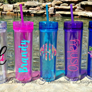 Tall Skinny Acrylic Tumblers by MAARS with lid and straw; Lilly Pulitzer Inspired Monogram, 16 oz Tumbler, Personalized Tall Tumbler