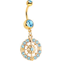 Aqua Gem Gold Plated Brilliant Sunburst Flower Dangle Belly Ring | Body Candy Body Jewelry