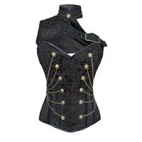 Black brocade military inspired corset