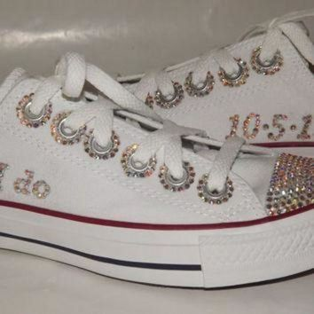 DCCKGQ8 bridal custom bling rhinestone chuck taylor converse all star low top