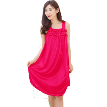 Summer Sexy Long Silk Nightgowns Nightdress For Women Casual Ladies Straps Sleeping Dress Nightie Homewear Vestidos Femininos