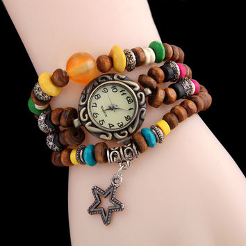 Sloggi retro Buddha beads bracelet watch winding pendant quartz watch men and women watch