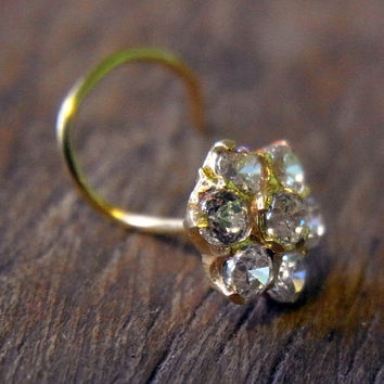 22K Yellow Gold Nose Stud with CZ Diamonds Flower 7mm