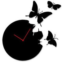 Butterfly Time Fly Wall Clock DIY Art Home Decor Black