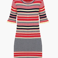 Multi Color Striped Knitted Bodycon Dress