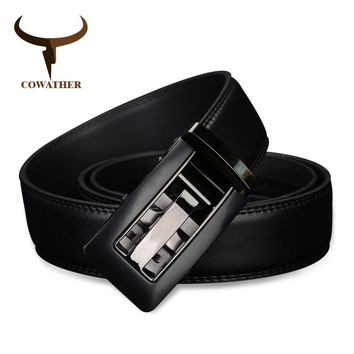 COWATHER 2017 Automatic Buckle cow Genuine Leather men Belts strap for male Fashion casual Brand cinto masculino CZ024