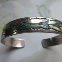 Vintage Sterling Native American Turquoise Inlay Cuff Bracelet