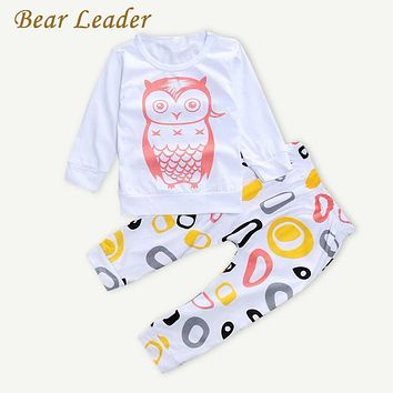 New Baby Girls Clothes Set Long Sleeve T-shirt + Pants Owl Pattern Baby Clothing Set Newborn Baby Costume Suits