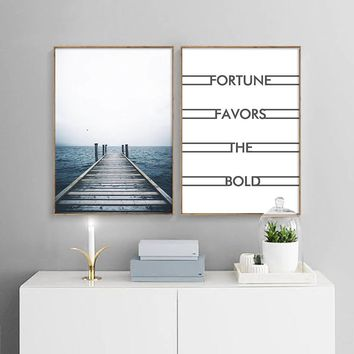 Ocean Coastal Wall Art Canvas Painting Sea Landscape Nordic Poster and Prints Motivational Decorative Picture Scandinavian Style