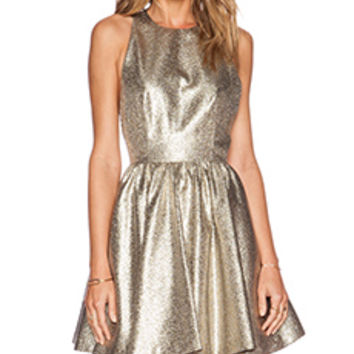 Alice + Olivia Tevin Racerback Dress in Metallic