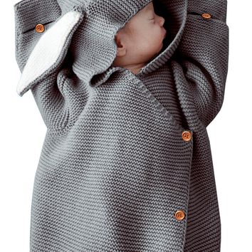 Gray Newborn Knitted Rabbit Ear Style Swaddling Baby Wrap