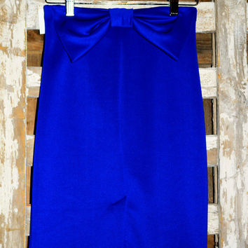 BOW PENCIL SKIRT IN ROYAL