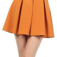 Term Paper Pleated Skater Mini Skirt in Mustard | Sincerely Sweet Boutique