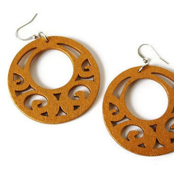 Boho Earrings, Wood Earrings in Gold Tone