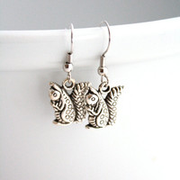 Squirrel Earrings - Hypoallergenic - Woodland Creatures - Silver - Metal - Fashion