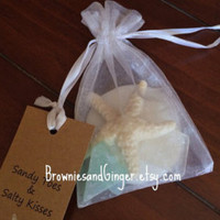 Beach wedding favors Large sand dollar, starfish and seaglass soap sachet favors