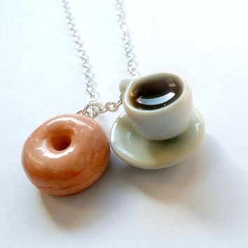 Coffee and Donut Necklace, Cute, Kawaii, Choice of Sterling Silver, Stainless Steel, or Silver Plated Chain :)