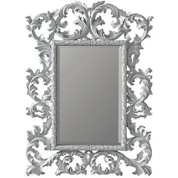 GM Luxury Jeremy Full Length Decorative Wall Art Hand Carved Mirror, White 35x51.2