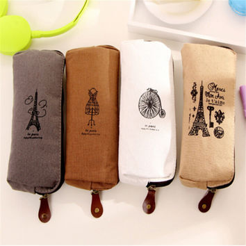 Material Escolar Linen Pencilcase Vintage Paris Estojoscolar Menina Kawaii Stationery Lapices School Supplies Pencil Case
