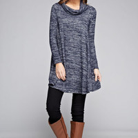 Two Tone A-Line Tunic - Navy
