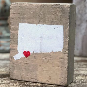Rustic Marlin Southern CT Wood Block with Heart | Grey Wash