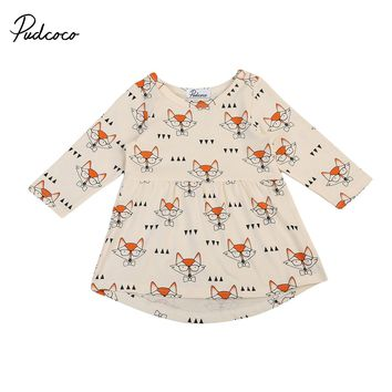Cute kid baby girl dress 2017 new long sleeves kid baby girl fox pattern dress autumn baby girl outfits baby birthday gift
