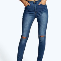 Anee High Waisted Split Knee Skinny Jeans