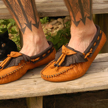 $129.00 Custom Raven style Buffalo Moccasins Mens or Womens Sizes by ManaMocs