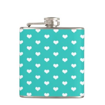 Cute Mint Hearts Pattern - Flask