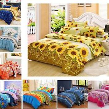 Soft Twin/Twin Extra Long/Queen Size Bed Quilt/Doona/Duvet Cover Pillowcases Set