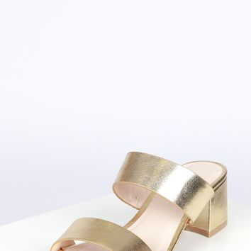 Double Strap Sandal Gold Crinkle