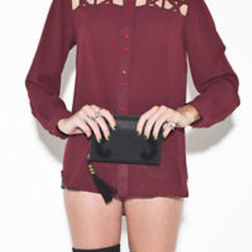 NWT Mink Pink Web of Lies Button Up Cut Out Long Sleeve Burgundy Blouse Size S