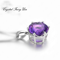 CZ Amethyst Necklace - Sterling Silver Amethyst Necklace - Amethyst Gemstone
