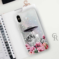 UFO Alien Glitter Phone Case Clear Case For iPhone 8 iPhone 8 Plus - iPhone X - iPhone 7 Plus - iPhone 6 - iPhone 6S - iPhone SE  iPhone 5