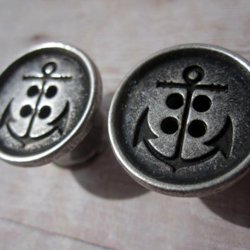 "Pair of Silver Anchor Button Plugs - Sailor Gauges - Beach - 1/2"", 9/16"", 5/8"", 3/4"", 7/8"", 1"" (12mm, 14mm, 16mm, 19mm, 22mm, 25mm)"